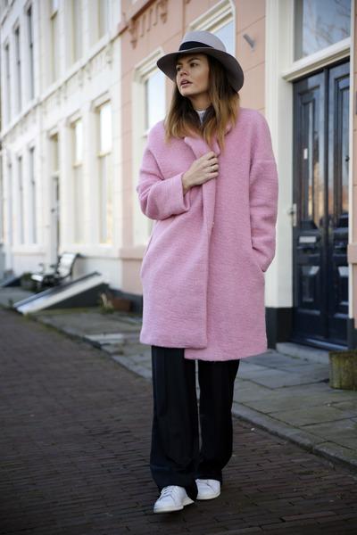 pink Jacquemus for La Redoute coat - Maison Michel hat