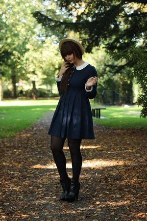 vintage hat - asos boots - Chicwish dress