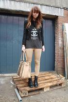 H&M leggings - 5Preview shirt - ployy jacket - Zara purse - H&M boots
