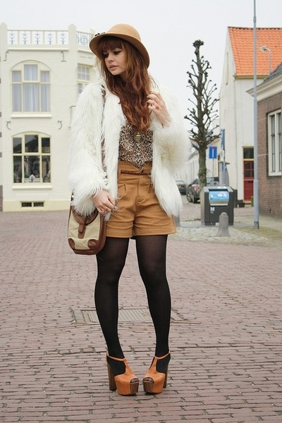 Zara coat - vintage hat - Only shorts