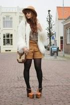Zara coat - vintage hat - Only shorts