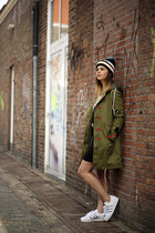 Sheinside coat - Pieboy hat - Adidas x Topshop Superstar sneakers