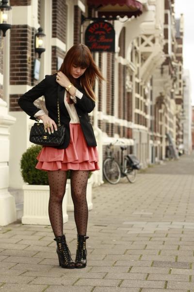 H&M blazer - Topshop boots - h&m pink label skirt