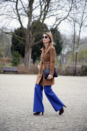 suede Mango coat - flare jeans