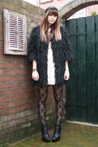 h&m pink label dress - River Island coat - sam edelman boots