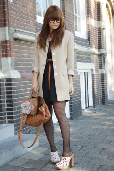 vintage blazer - Miu Miu shoes - H&amp;M dress