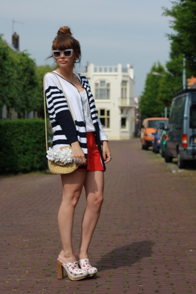 Miu Miu shoes - H&M shorts - vintage cardigan - H&M sunglasses