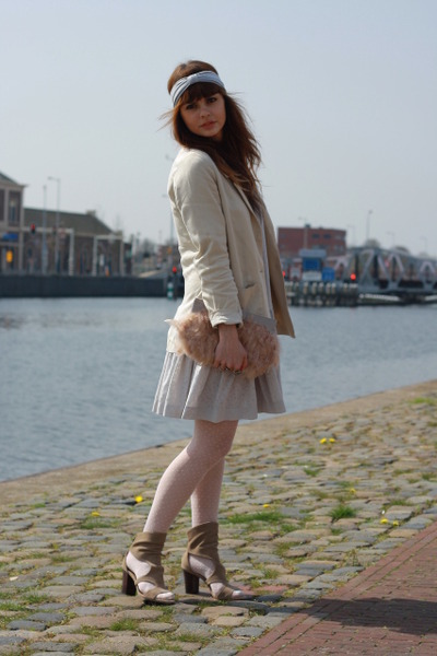 H&M garden collection blazer - Zara boots - H&M dress - asos purse
