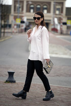acne shirt - balenciaga boots - Celine sunglasses - & other stories pants