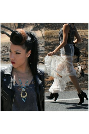 mesh maxi skirt - leather jacket - harley vintage top
