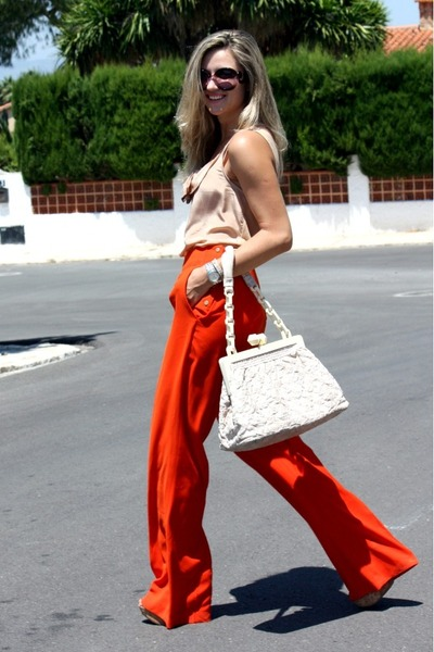 eggshell Louis Vuitton bag - Prada sunglasses - nude Zara blouse
