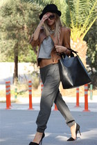brown Zara jacket - black Zara bag - heather gray Zara pants - black Zara heels