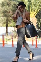 brown Zara jacket - black Zara bag - heather gray Zara pants - black Zara heels