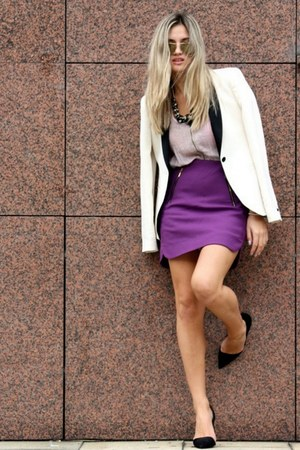 purple Zara skirt - Zara blazer - black Zara heels - H&M blouse