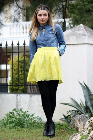 yellow Zara skirt - H&M shirt - black H&M loafers
