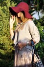 Maroon-h-m-hat-periwinkle-stradivarius-sweater-burberry-bag