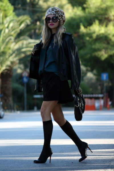 green Zara shirt - black Zara shorts - black Christian Louboutin heels