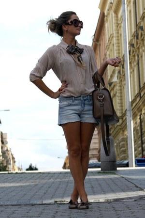 Prada sunglasses - beige H&M shirt - Barbour scarf - tan Zara bag - H&M shorts