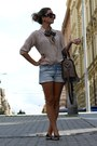 Beige-h-m-shirt-barbour-scarf-tan-zara-bag-h-m-shorts-prada-sunglasses