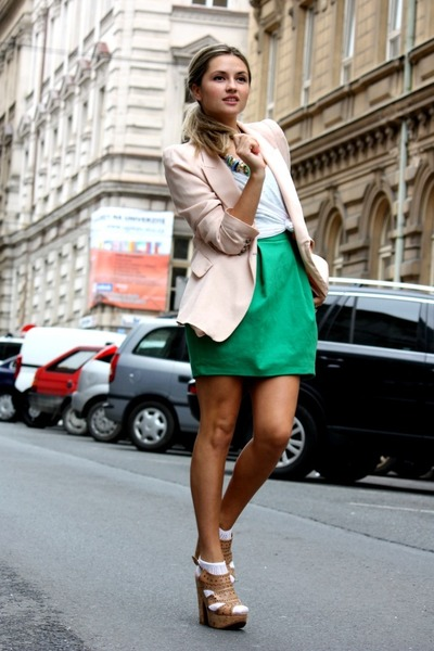 chartreuse Zara dress - light pink Zara blazer