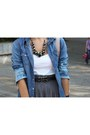 H-m-shirt-gray-zara-skirt-h-m-necklace-black-blanco-belt