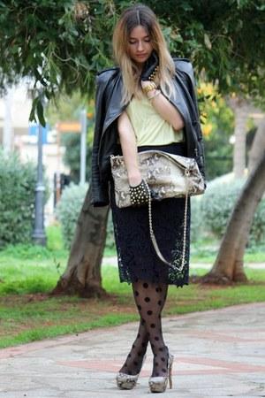 navy Zara skirt - Zara bag - light yellow Zara top