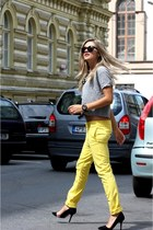 yellow Dsquared2 pants - black Ralph Lauren sunglasses - black Zara heels