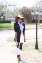 beige hat - black blazer - black tights - orange shoes - white skirt - blue shir