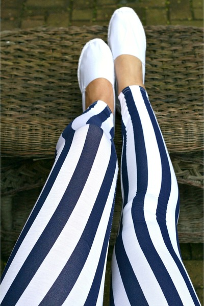 Navy And White Striped Leggings
