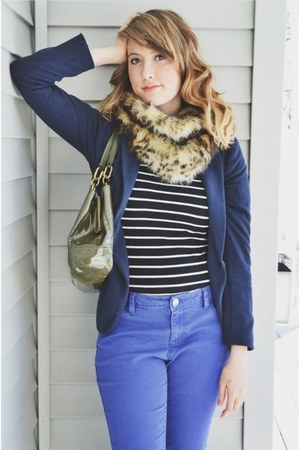 navy Forever 21 blazer - leather Aldo boots - faux fur snood Express scarf