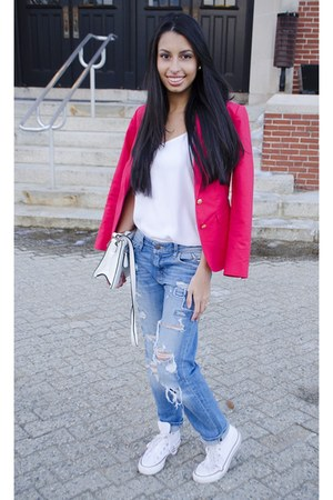 red banana republic blazer - white Converse shoes