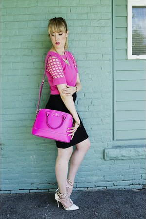 hot pink crop top Sheinside blouse - hot pink kate spade bag
