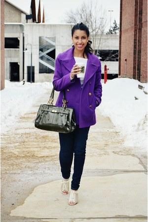 deep purple JCrew coat - eggshell Aldo shoes - navy Levis jeans