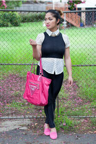 black supre top - cream chicabooti shirt - hot pink Guess bag