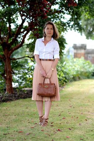 white Hawes & Curtis shirt - brown Mulberry bag - brown Soft Grey belt