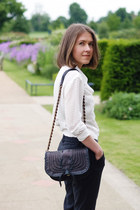 leather Nina Ricci bag - see by chloé pants - silk Reiss blouse