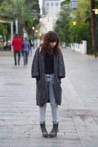 gray H&M cardigan - heather gray Mango jeans