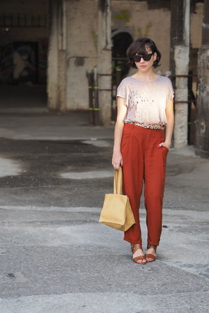 burnt orange Zara pants - beige Forever 21 jumper - brown Michael Kors sandals
