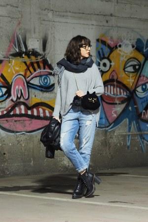 heather gray shein sweater - black Aldo boots