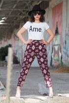 silver H&M heels - brick red H&M pants