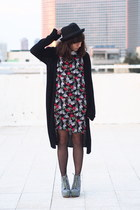 black H&M hat - chartreuse asos boots - black asos dress