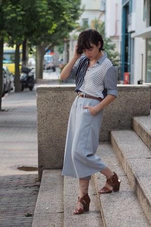 navy Zara shirt - sky blue Komono By Mika pants - brown Michael Kors sandals