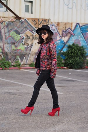 black c&a hat - red Aldo boots - ruby red asos coat - black H&M shirt