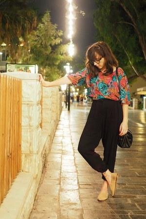black Mango pants - neutral Zara flats