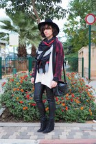 ruby red Forever 21 cardigan - black pull&bear boots - cream H&M jumper