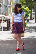 red French Connection skirt - white Lefties shirt - red New Balance sneakers