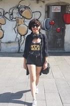 black H&M shorts - black asos top