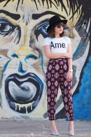 brick red H&M pants - silver H&M heels