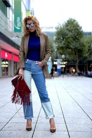 bronze Christian Louboutin shoes - blue asoscom jeans - brown asos blazer