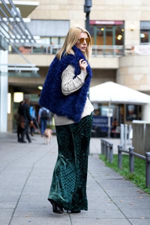 teal H&M pants - beige asoscom sweater - blue MARC CAIN vest